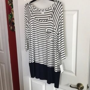 Blue and cream stripe top from Dillard's
